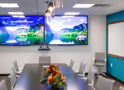 Conference room with technology for teleconferencing