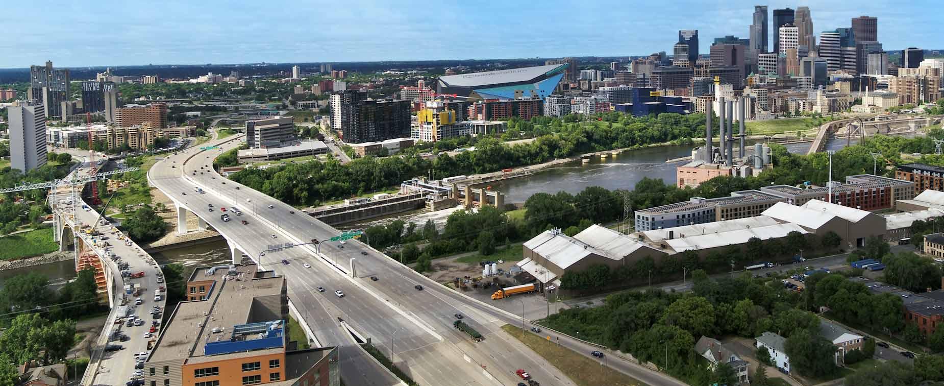 Aerial view of I-35W bridge