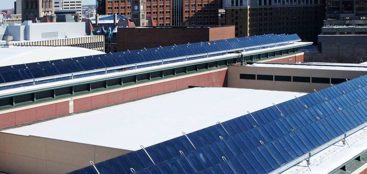 district energy solar thermal system - roof panels