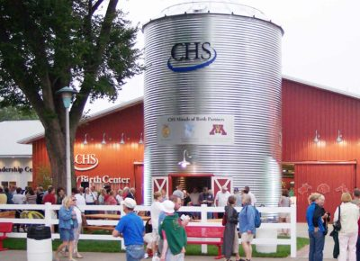 The silo in front of the building