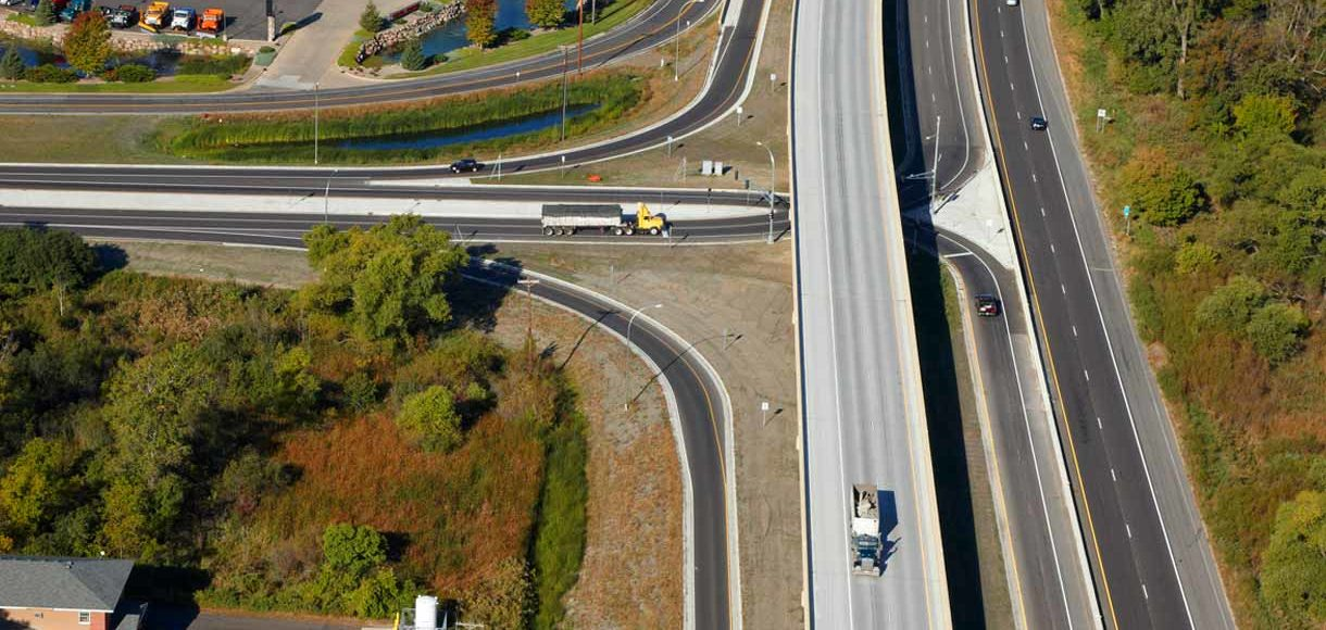 Aerial of TH 13/TH 101 interchange