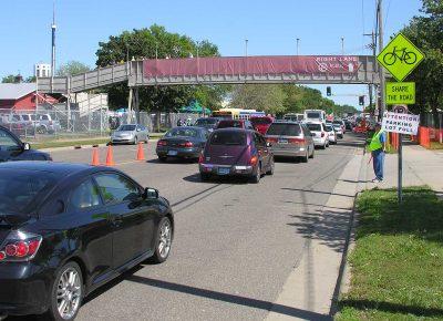 State Fair traffic flowing along Snelling Avenue in Saint Paul, Minnesota.