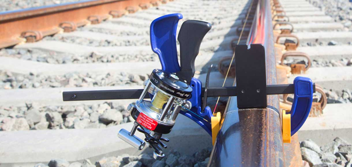 Close-up photo of train track