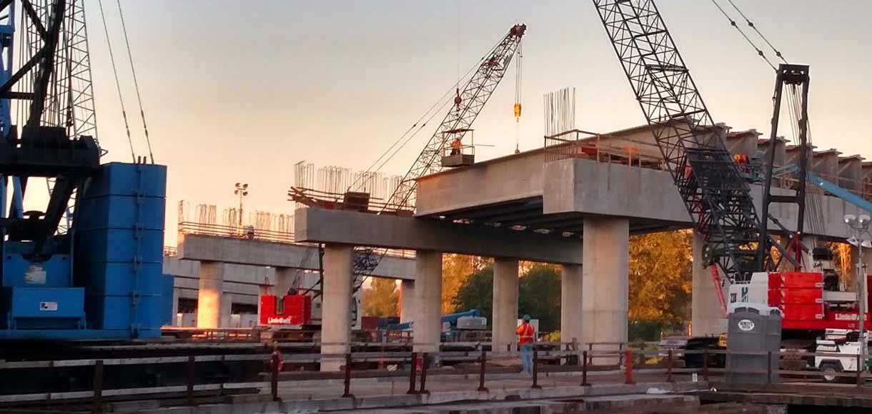 Photo of rail bridge construction