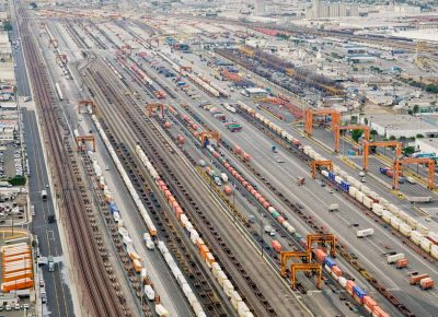 Aerial of intermodal yard
