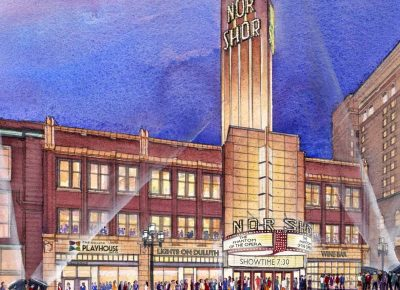 watercolor illustration of NorShor Theatre