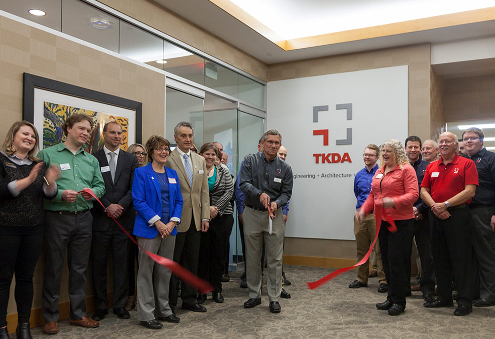 Photo of ribbon cutting at new TKDA Duluth office.