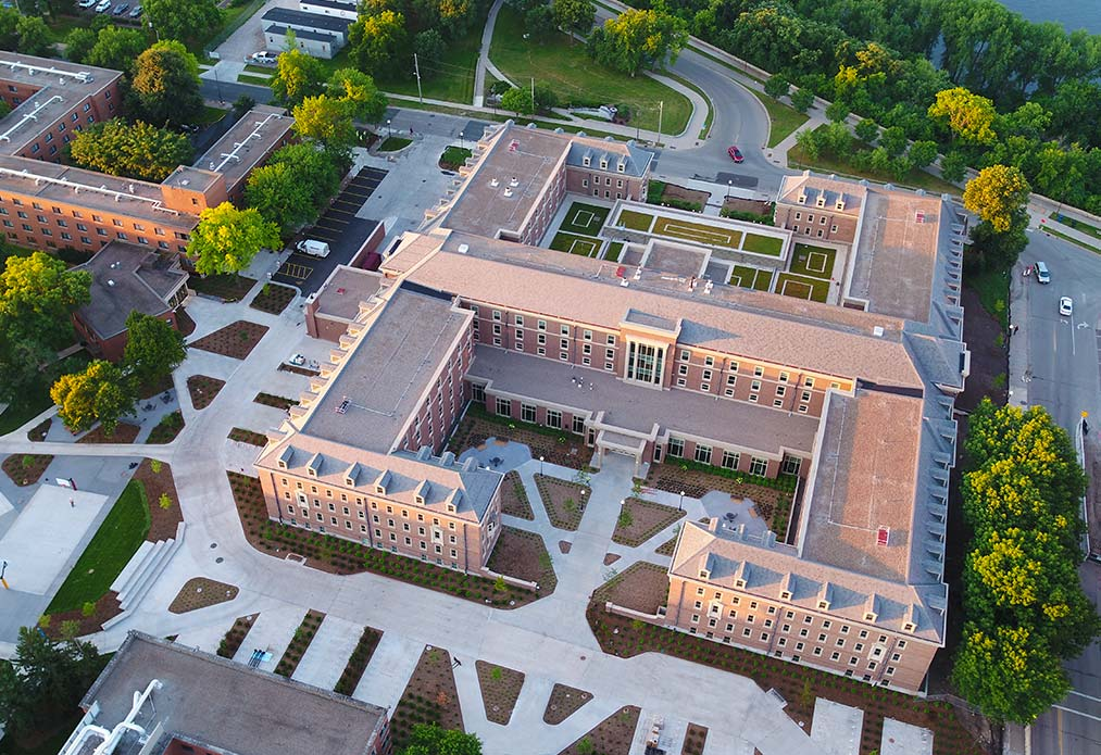 aerial view of Pioneer Hall