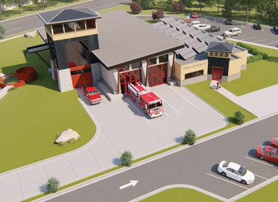 Rendering - aerial view of fire station