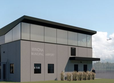 Side view rendering of Winona Airport Building