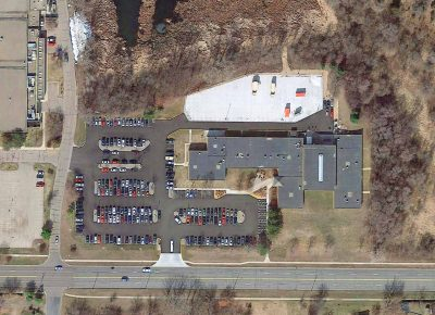 Aerial of the Bloomington Armory