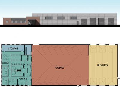 Renderings of bus garage