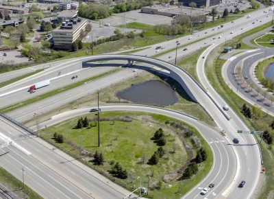 Aerial view of west bound ramp of East Bush Lake Road