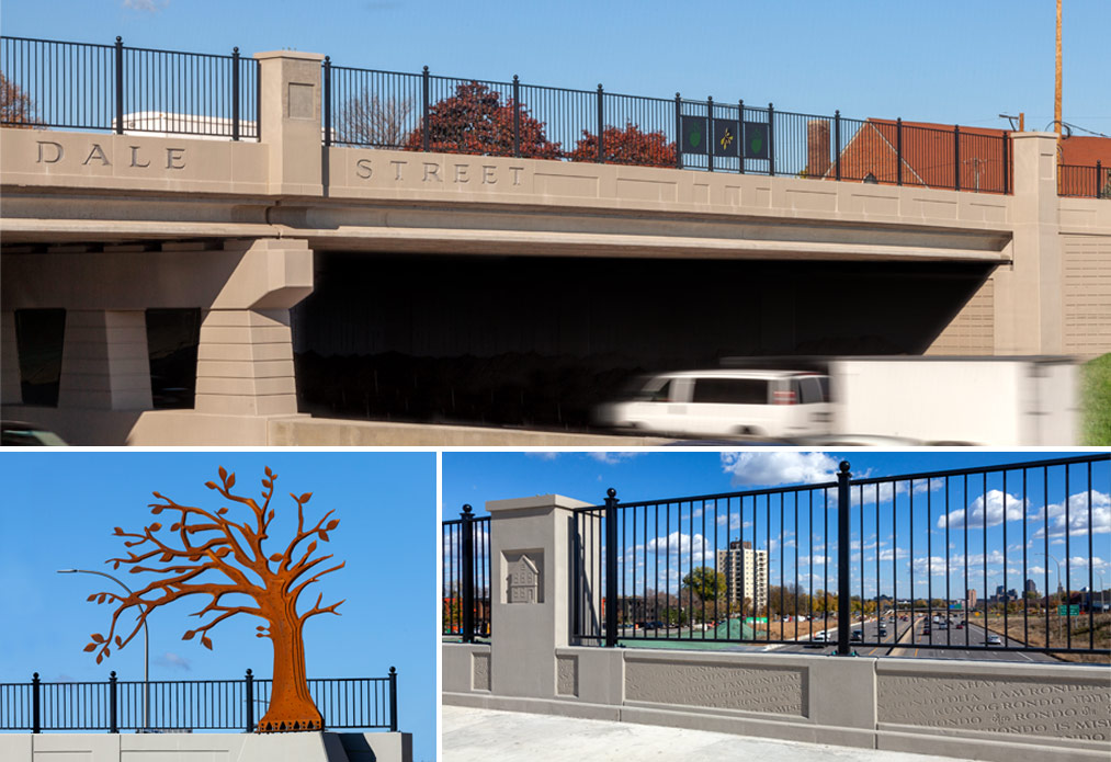 Images of Dale Street Bridge and its artwork